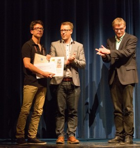 Hugo Talbot receives the first prize from the EG Medical Prize Chairs at this year's EG Medical Prize ceremony.